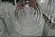 TWO ETCHED GLASS PLATES WITH FLORAL SCENES. SIGNED.