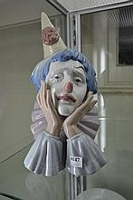 LARGE LLADRO CLOWN BUST WITH CONE ON HEAD