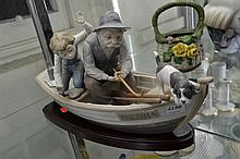 LLADRO FIGURAL GROUP OF FISHERMAN AND BOY