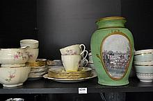 SHELF OF ASSORTED CHINA INCL. ROYAL DOULTON AND JOHNSON BROTHERS LUNCH SET FOR SIX