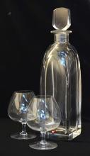 TWO ORREFERS DECANTERS AND SIX ORREFORS BRANDY BALLOONS