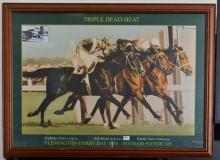 FRAMED TRIPLE DEAD HEAT FLEMINGTON DERBY DAY 1956 PRINT; AND CLASSIC LINES RACING BOOK