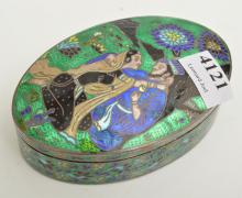A SILVER 925 AND ENAMEL INDIAN BOX WITH LOVERS SCENE