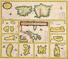 17TH CENTURY MAP OF MEDITERRANEAN ISLANDS