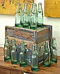 INDUSTRIAL WOODEN CRATE CONTAINING ONE DOZEN GLASS BOTTLES Crate 32cm
