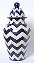 CHEVRON GLAZED COVERED JAR 84cm high
