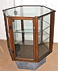 GLAZED HEXAGONAL DISPLAY CABINET ON PEDESTAL BASE 102 x 87 x 75cm
