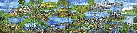PRO HART (1928-2006) The South Australian Mural 1993 oil on canvas (four panels)