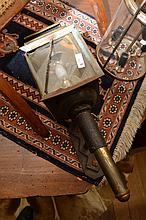 A FRENCH CARRIAGE LIGHT AND ONE OTHER LANTERN