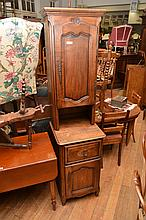 A PAIR OF NARROW FRENCH PROVINCIAL OAK CABINETS