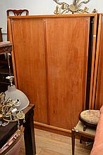 A PAIR OF SILKY OAK WARDROBES
