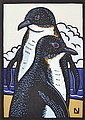 LESLIE VAN DER SLUYS (1939-2010) Fairy Penguins 2000 linocut 35/99