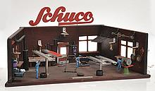 WOODEN SCHUCO GARAGE DIORAMA, POSSIBLY UNIQUE,