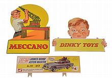 3 X CARDBOARD DISPLAY SIGNS INCLUDING MECCANO;