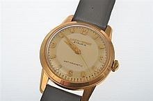 A LACO-SPORT ANTI MAGNETIC WRISTWATCH TO 14CT GOLD CASE