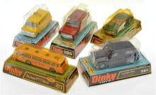 5 X DINKY MODELS INCLUDING NO. 165 FORD CAPRI; NO. 195 FIRE CHIEF'S CAR; NO. 412 BEDFORD 'AA' VAN; NO. 293 SWISS PTT BUS; AND NO. 28