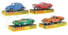 4 X DINKY MODELS INCLUDING NO. 129 VOLKSWAGON 100 SEDAN; NO. 116 VOLVO 1800S; NO. 221 CORVETTE STINGRAY WITH SPEEDWHEELS; AND NO. FO...