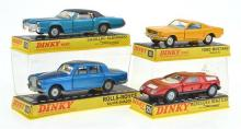 4 X DINKY MODELS INCLUDING NO. 158 ROLLS-ROYCE SILVER SHADOW; NO. 175 CADILLAC ELDORADO WITH SPEEDWHEELS; NO. 161 FORD MUSTANG; AND...