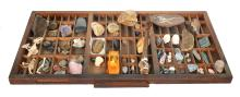 A COLLECTION OF STONE AND MINERAL SAMPLES IN A SEGMENTED OPEN-TOP DISPLAY CASE, 82 X 42CM