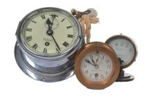 A NIKEL SHIP'S CLOCK BY SEWILL, TOGETHER WITH A SETH THOMAS BRASS CASED SHIP'S CLOCK AND A PRESSURE GAUGE BY ENGLISH ELECTRIC CO. LT.