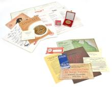 A COLLECTION OF EARLY QANTAS MEMROABILIA INCLUDING COMMEMORATIVE MEDALS