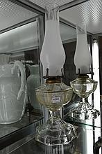 PRESSED GLASS KEROSENSE LAMP