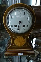 A FAIRFAX AND ROBERTS BALLOON MANTLE CLOCK, KEY WITH STAFF