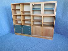 TWO RUD THYGESEN (DANISH, BORN 1932) TEAK BOOKCASES both approximately 163 x 101 x 36cm