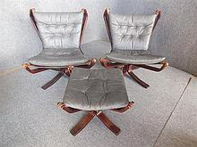 PAIR OF SIGURD RESSEL (NORWEGIAN BORN 1920) GREY LEATHER CHAIRS AND ONE MATCHING FOOTSTOOL