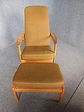 DANISH CHAIR AND FOOTSTOOL WITH GREEN UPHOLSTERY