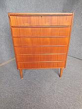 DANISH TEAK SIX-DRAWER CHEST 103 x 78 x 41cm