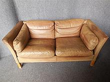 DANISH TWO-SEAT GREEN LEATHER SOFA back length 153cm