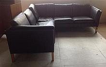 DANISH BLACK LEATHER TWO-PIECE MODULAR SOFA back lengths 215 and 140cm respectively