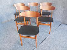 SET OF SIX DANISH TEAK DINING CHAIRS