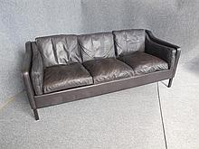DANISH THREE-SEAT BLACK LEATHER SOFA back length 190cm