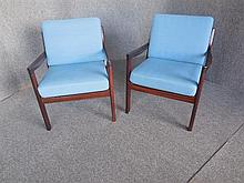PAIR OF OLE WANSCHER (DANISH, 1903-1985) ROSEWOOD ARMCHAIRS WITH BLUE UPHOLSTERY
