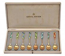 A SET OF VINTAGE ENAMEL SPOONS BY GEORG JENSEN