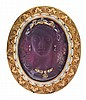 AN AMETHYST AND DIAMOND CAMEO BROOCH