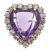 AN ANTIQUE AMETHYST AND DIAMOND BROOCH