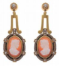 A PAIR OF VICTORIAN CAMEO EARRINGS