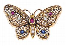 A GEM SET BUTTERFLY BROOCH