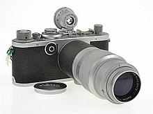 LEICA IF. RED DIAL NO 578265 (1957) WITH HEKTOR 135MM 4.5 LENS, 135 VIEWFINDER (SR00C) AND LENS CAP, CONDITION: 5