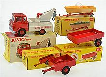 4 X DINKY MODELS INCUDING NO. 434 BEDFORD T.K. CRASH TRUCK; NO 319 WEEKS FARM TIPPING TRAILER; NO. 796 HEALY SPORTS BOAT ON TRAILER;...