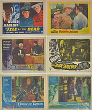 A COLLECTION OF SINGLE LOBBY CARDS FROM FILMS INCLUDING 'ISLE OF THE DEAD' (1953); 'VOODOO ISLAND' (1957); 'THE TERROR' (1963);