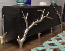 A CONTEMPORARY THREE DOOR SIDEBOARD WITH NATURALIST MOTIFS AND PATTERNS, BY GLOBAL VIEWS, 214 X 89 X 56CM