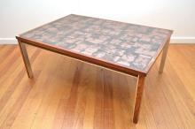 A 1960s TILE TOP COFFEE TABLE ON A BRAZILIAN ROSEWOOD AND ALUMINIUM BASE