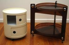 A 1970s KARTELL SIDE CABINET AND A TWO TIER SIDE AUTO TROLLEY