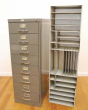 AN INDUSTRIAL EIGHT DRAWER FILING CABINET, AND AN OPENING FILING UNIT