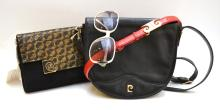 AN ASSORTMENT OF FRENCH FASHION ACCESSORIES, INCLUDING TWO PIERRE CARDIN HANDBAGS, A PIERRE CARDIN BELT AND 1970s BALENCIAGA SUNGLASSES