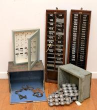 A COLLECTION OF VINTAGE SHOP INTERIORS INCLUDING TWO FILING SYSTEMS, TWO BOXES AND SCONE MOLDS